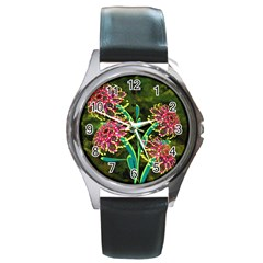 Flowers Abstract Decoration Round Metal Watch