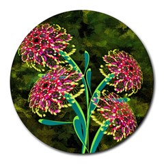 Flowers Abstract Decoration Round Mousepads