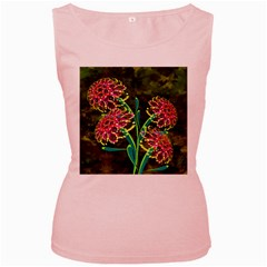 Flowers Abstract Decoration Women s Pink Tank Top