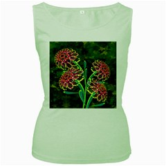 Flowers Abstract Decoration Women s Green Tank Top