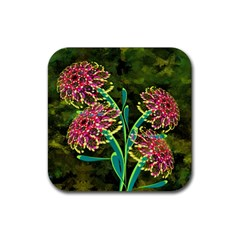 Flowers Abstract Decoration Rubber Square Coaster (4 pack)