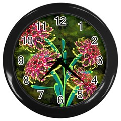 Flowers Abstract Decoration Wall Clocks (black)