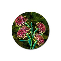 Flowers Abstract Decoration Rubber Round Coaster (4 pack)