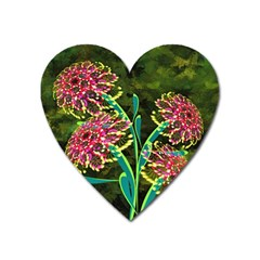 Flowers Abstract Decoration Heart Magnet
