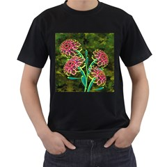 Flowers Abstract Decoration Men s T-Shirt (Black) (Two Sided)