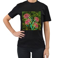Flowers Abstract Decoration Women s T-Shirt (Black) (Two Sided)