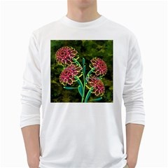 Flowers Abstract Decoration White Long Sleeve T-Shirts