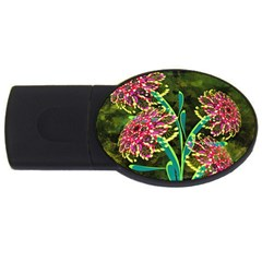 Flowers Abstract Decoration USB Flash Drive Oval (4 GB)