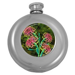Flowers Abstract Decoration Round Hip Flask (5 oz)