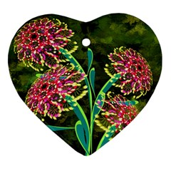 Flowers Abstract Decoration Heart Ornament (Two Sides)