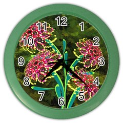 Flowers Abstract Decoration Color Wall Clocks