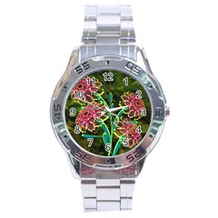 Flowers Abstract Decoration Stainless Steel Analogue Watch