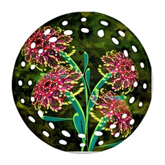 Flowers Abstract Decoration Round Filigree Ornament (Two Sides)