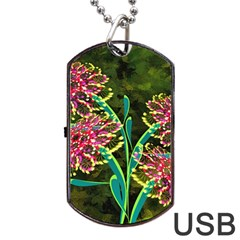 Flowers Abstract Decoration Dog Tag USB Flash (One Side)