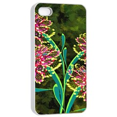 Flowers Abstract Decoration Apple iPhone 4/4s Seamless Case (White)