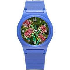 Flowers Abstract Decoration Round Plastic Sport Watch (s)