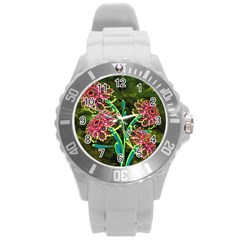 Flowers Abstract Decoration Round Plastic Sport Watch (L)