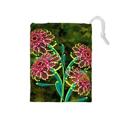 Flowers Abstract Decoration Drawstring Pouches (Medium)