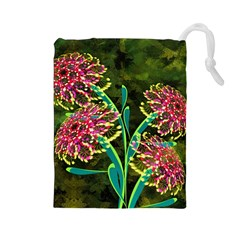 Flowers Abstract Decoration Drawstring Pouches (large)