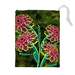Flowers Abstract Decoration Drawstring Pouches (Extra Large)