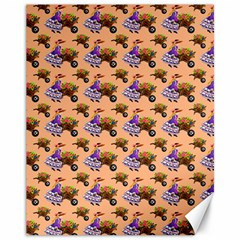 Flowers Girl Barrow Wheel Barrow Canvas 11  x 14