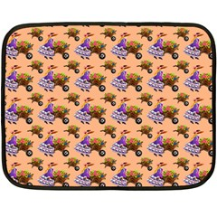 Flowers Girl Barrow Wheel Barrow Double Sided Fleece Blanket (Mini)