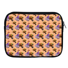 Flowers Girl Barrow Wheel Barrow Apple iPad 2/3/4 Zipper Cases