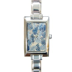 Flowers Blue Patterns Fabric Rectangle Italian Charm Watch