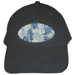 Flowers Blue Patterns Fabric Black Cap