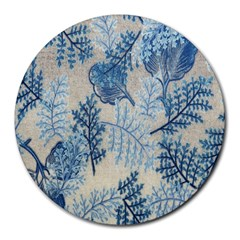 Flowers Blue Patterns Fabric Round Mousepads