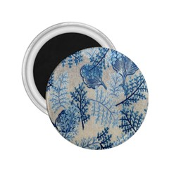 Flowers Blue Patterns Fabric 2 25  Magnets