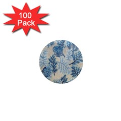 Flowers Blue Patterns Fabric 1  Mini Magnets (100 Pack)