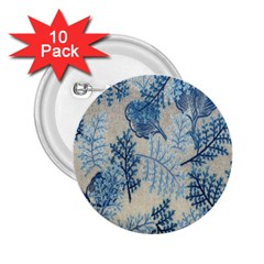 Flowers Blue Patterns Fabric 2 25  Buttons (10 Pack)