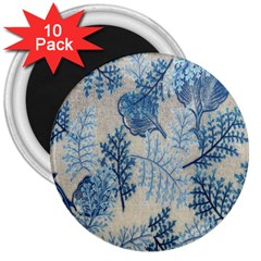 Flowers Blue Patterns Fabric 3  Magnets (10 Pack)