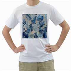 Flowers Blue Patterns Fabric Men s T-Shirt (White) (Two Sided)
