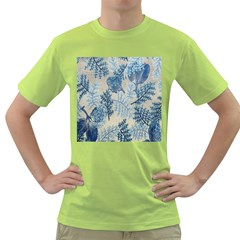 Flowers Blue Patterns Fabric Green T-Shirt
