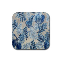 Flowers Blue Patterns Fabric Rubber Coaster (Square)