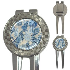 Flowers Blue Patterns Fabric 3-in-1 Golf Divots