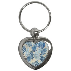 Flowers Blue Patterns Fabric Key Chains (Heart)