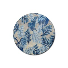 Flowers Blue Patterns Fabric Rubber Coaster (round)