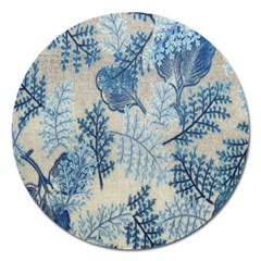 Flowers Blue Patterns Fabric Magnet 5  (Round)