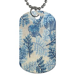 Flowers Blue Patterns Fabric Dog Tag (One Side)
