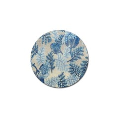 Flowers Blue Patterns Fabric Golf Ball Marker