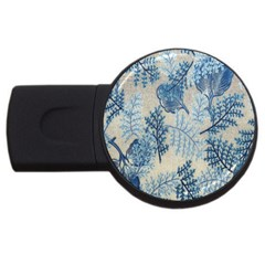 Flowers Blue Patterns Fabric USB Flash Drive Round (2 GB)
