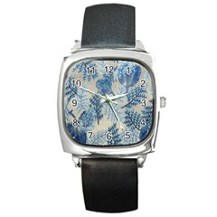Flowers Blue Patterns Fabric Square Metal Watch