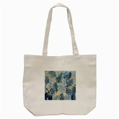 Flowers Blue Patterns Fabric Tote Bag (cream)