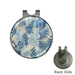 Flowers Blue Patterns Fabric Hat Clips with Golf Markers
