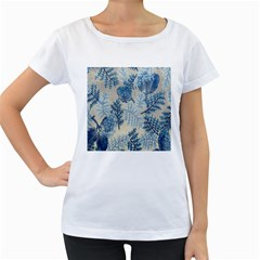 Flowers Blue Patterns Fabric Women s Loose-Fit T-Shirt (White)