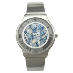 Flowers Blue Patterns Fabric Stainless Steel Watch