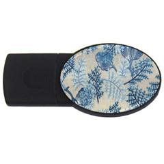 Flowers Blue Patterns Fabric USB Flash Drive Oval (4 GB)